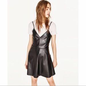 Zara faux leather black strappy dress